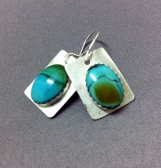 Handcrafted, sterling silver, turquoise earrings