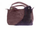 Pretty recycled leather and fur purse.