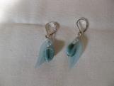Long Aqua Leaf Earrings