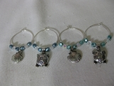 Turtle and Shell Charm Wine Glass Rings