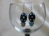 Oval Black Polka dot Bead and Cut Glass Pyramid Earrings