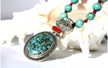 Turquoise Necklace, silver ethnic indian necklace.