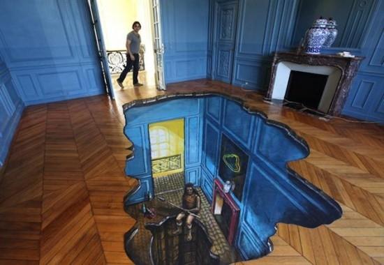 3d floor art illusion for Floor illusions